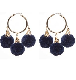 Fornash Fiesta Pom Pom Earrings in Navy