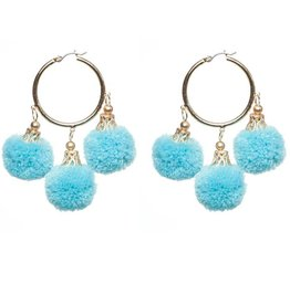 Fornash Fiesta Pom Pom Earrings in Aqua