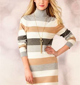 Charlie Page Neutral Striped Turtleneck Dress