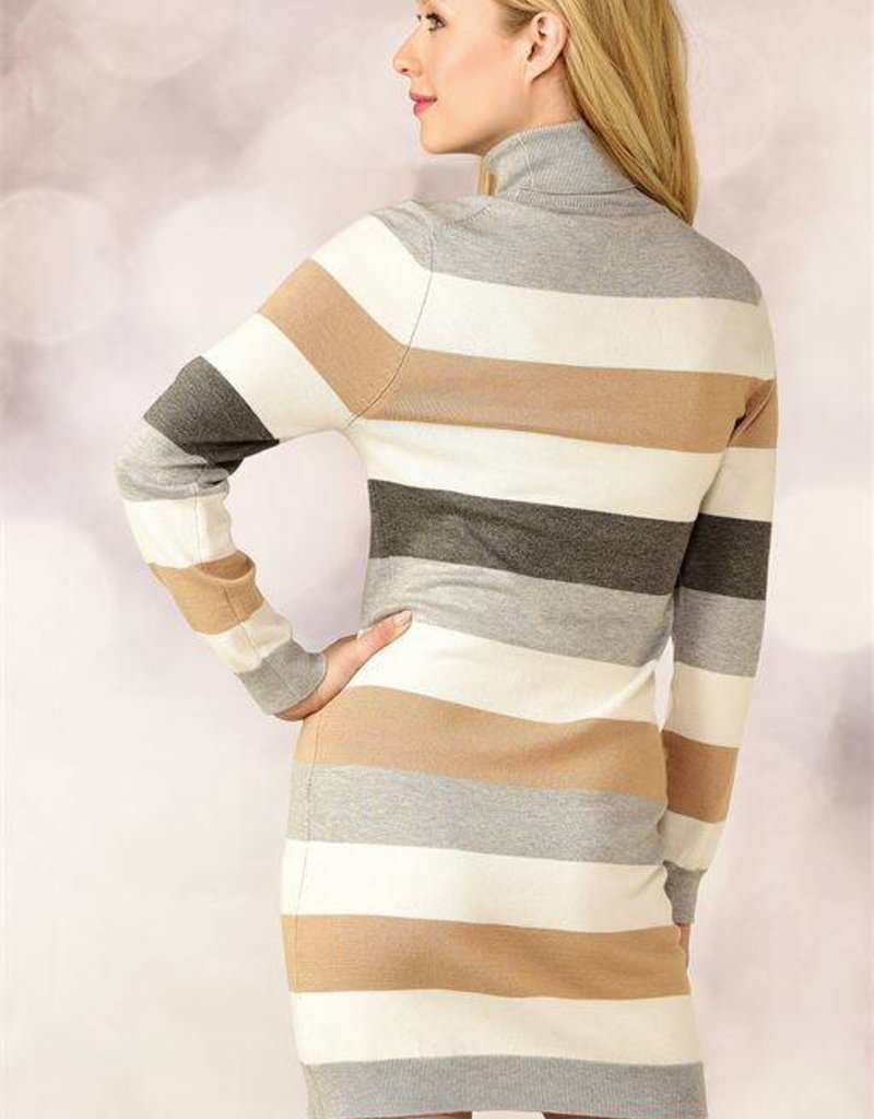 Charlie Page Neutral Striped Turtleneck Dress