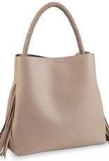 Mudpie Fiona Fringe Tote in Soft Taupe