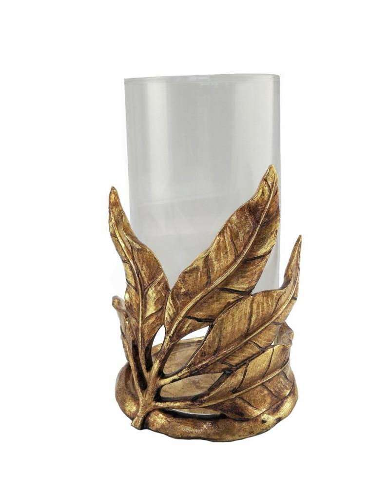 Sagebrook Gold Resin Leaf Candle Holder w Glass