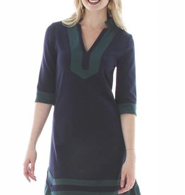 V Fish Opal Banded Shift Dress in Navy
