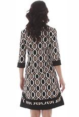 V Fish Opal Banded Shift Dress in Black/Tan Geometric
