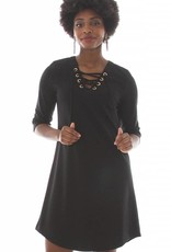 V Fish Shale Lace Up Shift Dress in Black