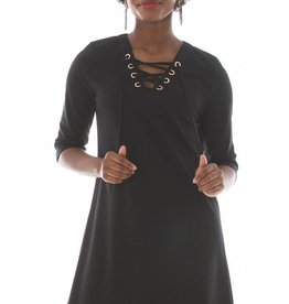 V Fish Shale Lace Up Shift Dress in Black