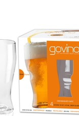 Go Vino 16 OZ Beer Glasses Set/4 Dishwasher Safe