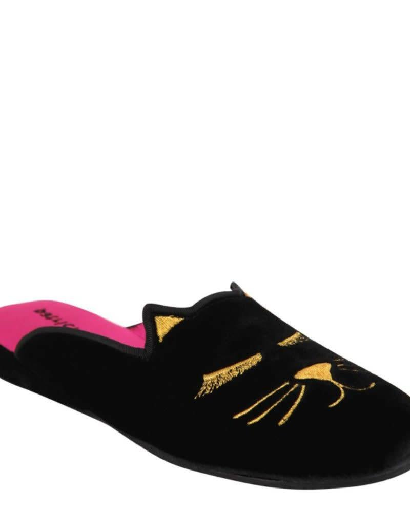Patricia Green Demure Black Kitty Slippers