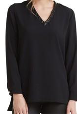 Mudpie Talton V Neck Tunic Top in Black