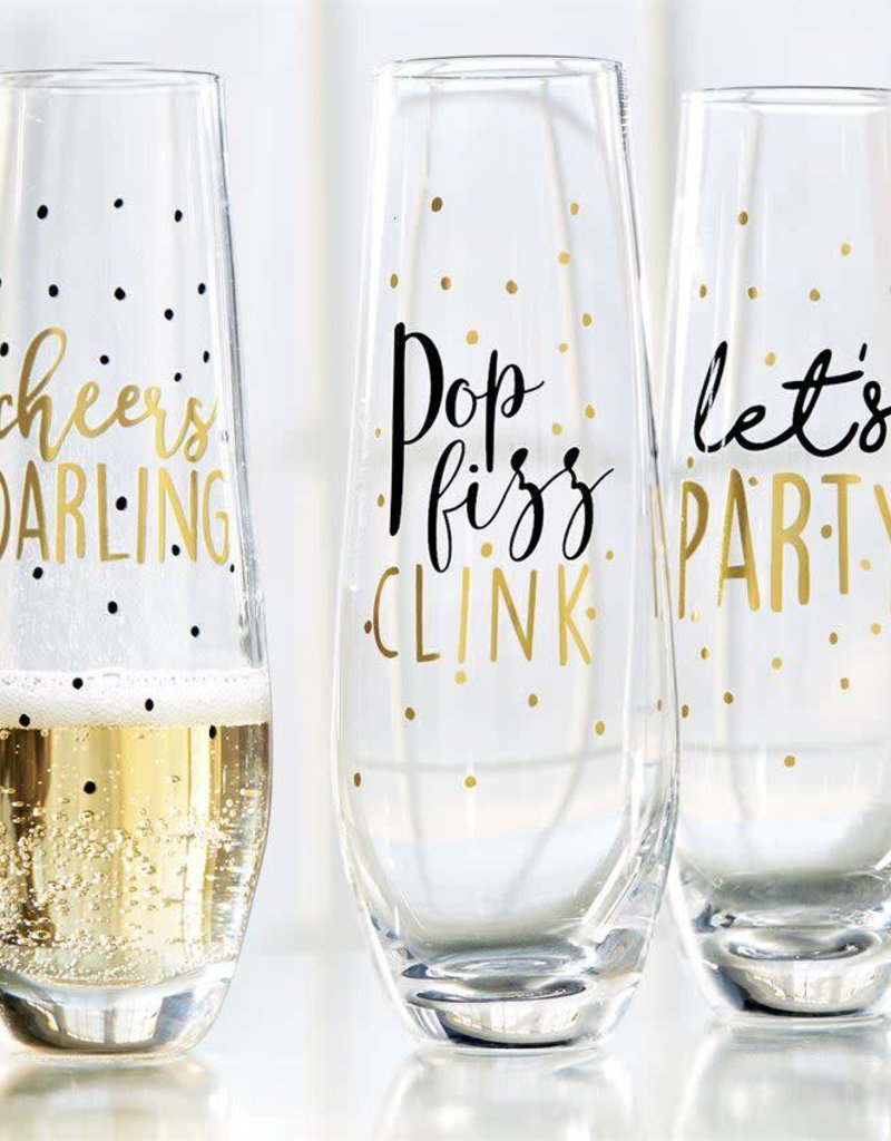 Mudpie Let's Party Stemless Champagne Glass