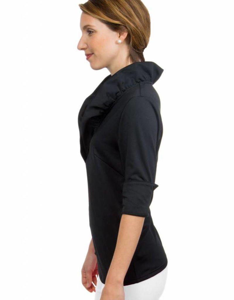 Gretchen Scott Ruffneck 3/4 Sleeve Top in Black