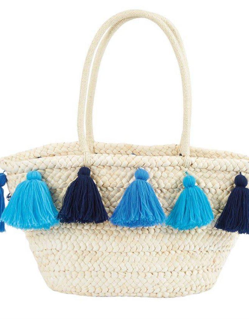 Mudpie Tassel Straw Tote in Shades of Blue