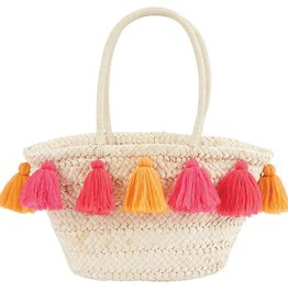 Mudpie Tassel Straw Tote in Pink/Orange