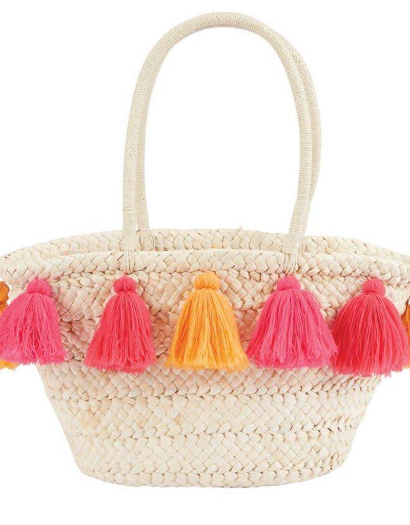 Mudpie Tassel Straw Tote in Pink/Orange