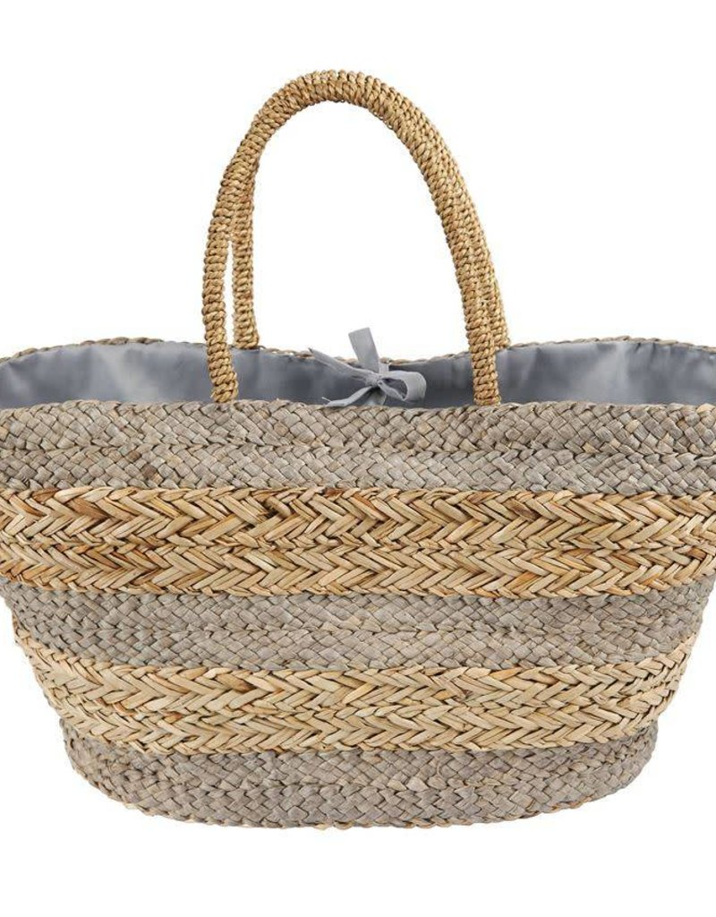 Mudpie Large Striped Straw Tote in Gray