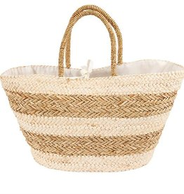 Mudpie Large Striped Straw Tote in Tan
