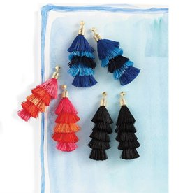 Mudpie Tiered Tassel Earrings