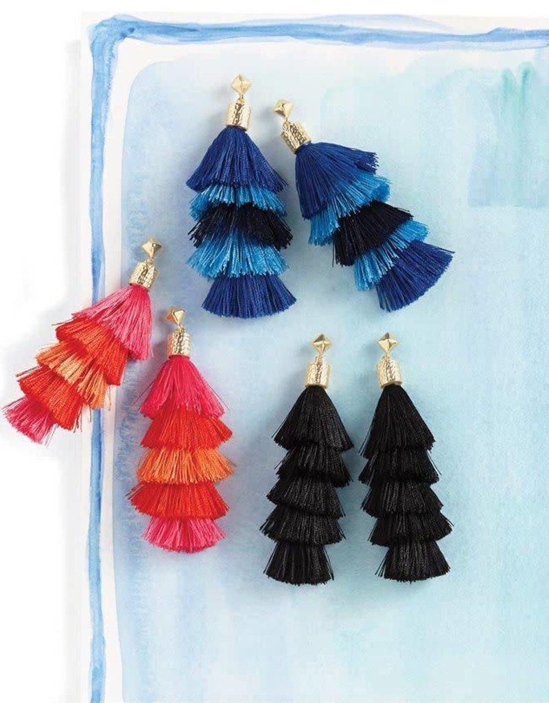 Mudpie Tiered Tassel Earrings