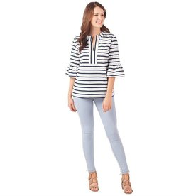 Mudpie Shay Bell Sleeve Striped Tunic in Navy/White