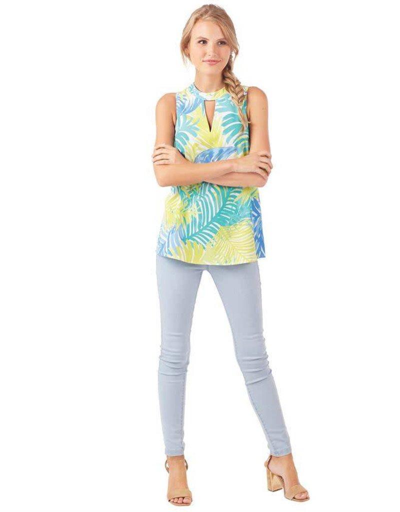Mudpie Beverly Swing Top in Blue Palm