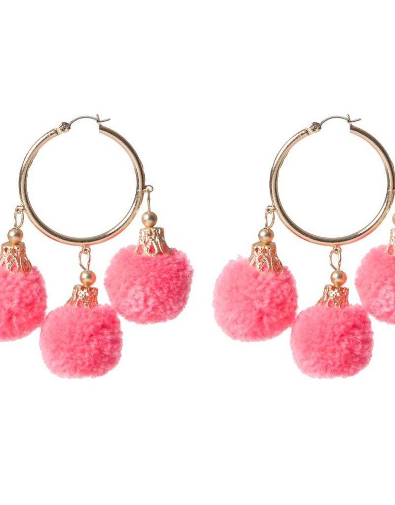 Fornash Fiesta Pom Pom Earrings in Neon Pink