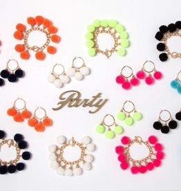 Fornash Fiesta Pom Pom Earrings in Neon Orange