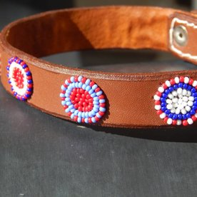 Beadle African beaded collar brown leather with blue/red circles