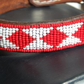Beadle African beaded collar white/red kite