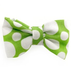 Barley's Bowties Lime Green dots Large