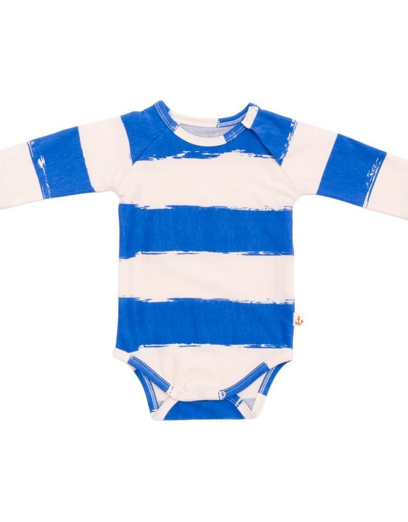 Noé & Zoë raglan onesie- blue stripes XL