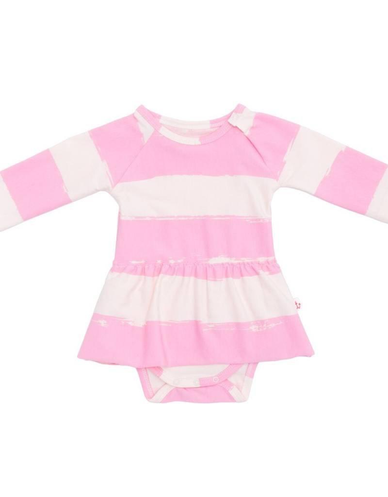 Noé & Zoë raglan skirt onesie- rose stripes XL