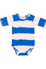 Noé & Zoë raglan onesie- blue stripes XL