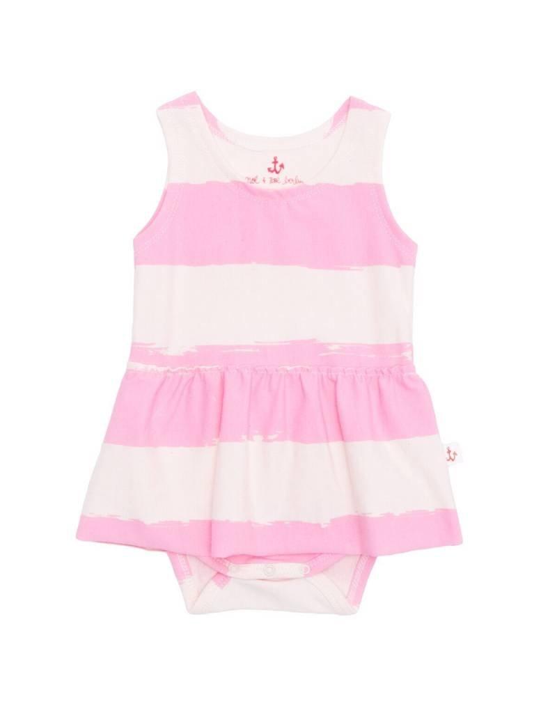 Noé & Zoë tank skirt onesie- rose stripes XL