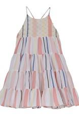 Velveteen lara dress- stripe pastels