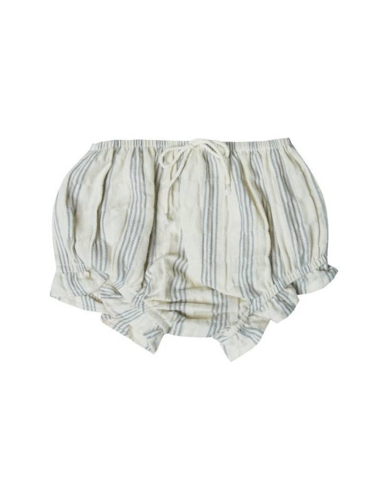 Rylee and Cru baby stripe ruffle bloomer- ivory/stormy blue