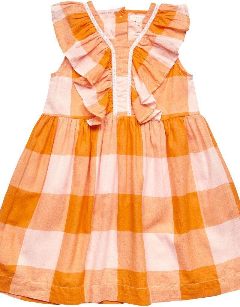 Pink Chicken aurora dress- orange gingham