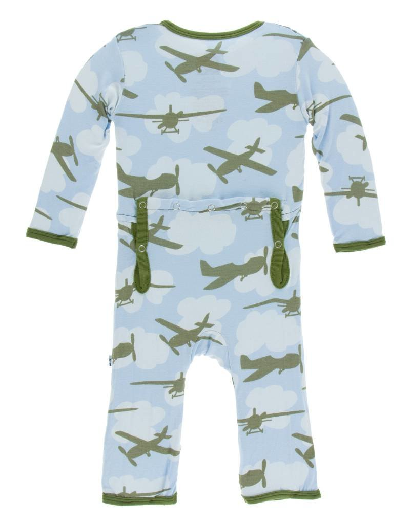 Kickee Pants coverall (snap)- pond airplane