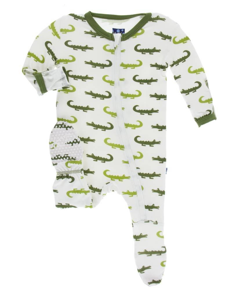 Kickee Pants footie (zip)- natural crocodile