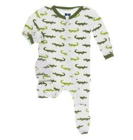 Kickee Pants baby footie (zip)- natural crocodile