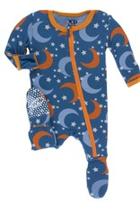 Kickee Pants baby footie (zip)- twilight moon & stars