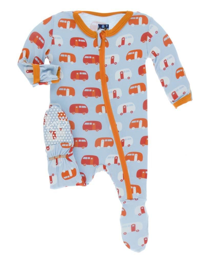 Kickee Pants baby footie (zip)- pond camper