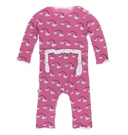 Kickee Pants ruffle coverall (snap)- flamingo rainbow