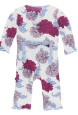 Kickee Pants baby ruffle coverall (snap)- natural peony