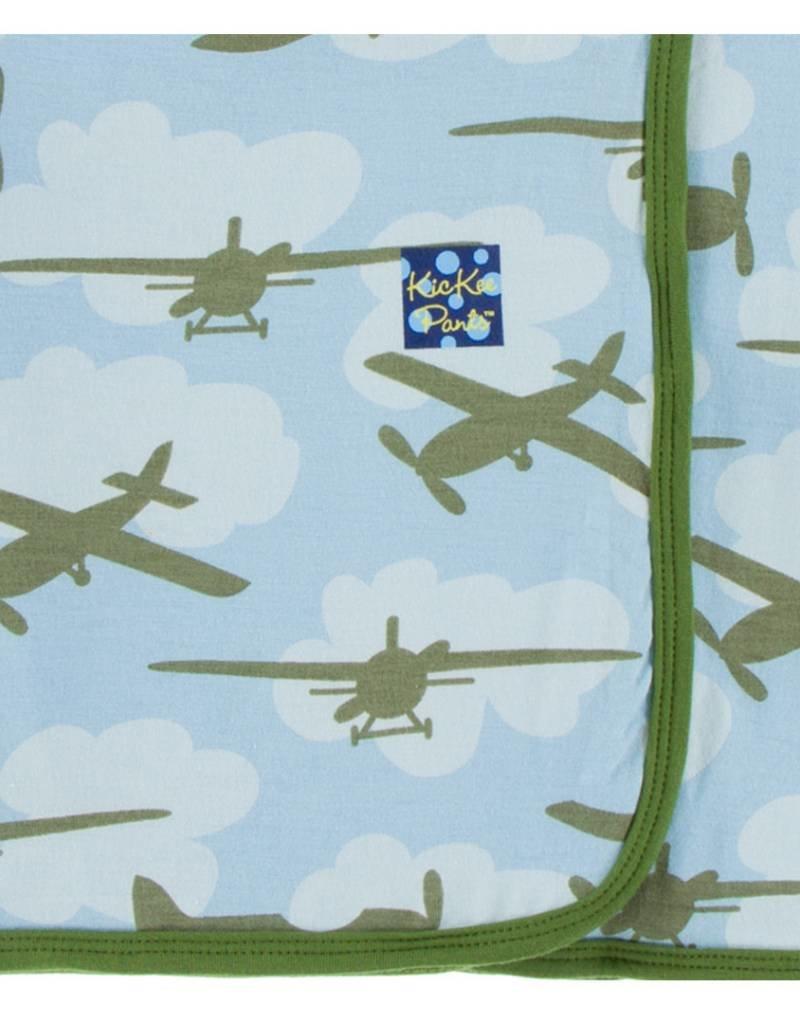 Kickee Pants swaddle blanket- pond airplane