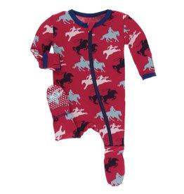 Kickee Pants baby footie (zip)- flag red cowboy