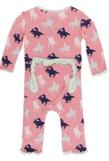 Kickee Pants ruffle coverall (snap)- strawberry cowgirl