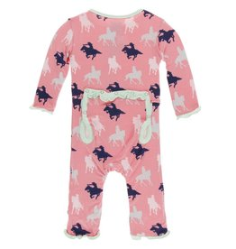 Kickee Pants baby ruffle coverall (snap)- strawberry cowgirl