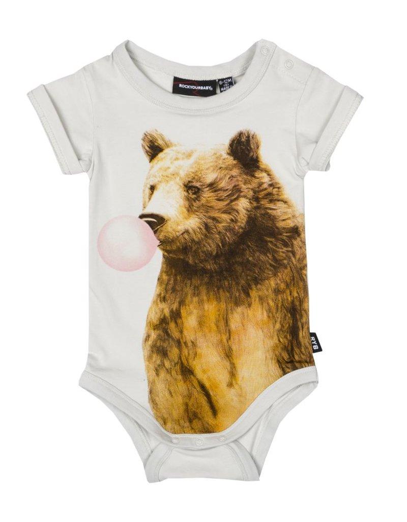 Rock Your Baby bubble gum bear onesie
