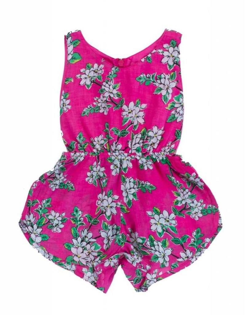 Coco and Ginger baby poet sunsuit- pink almond blossom