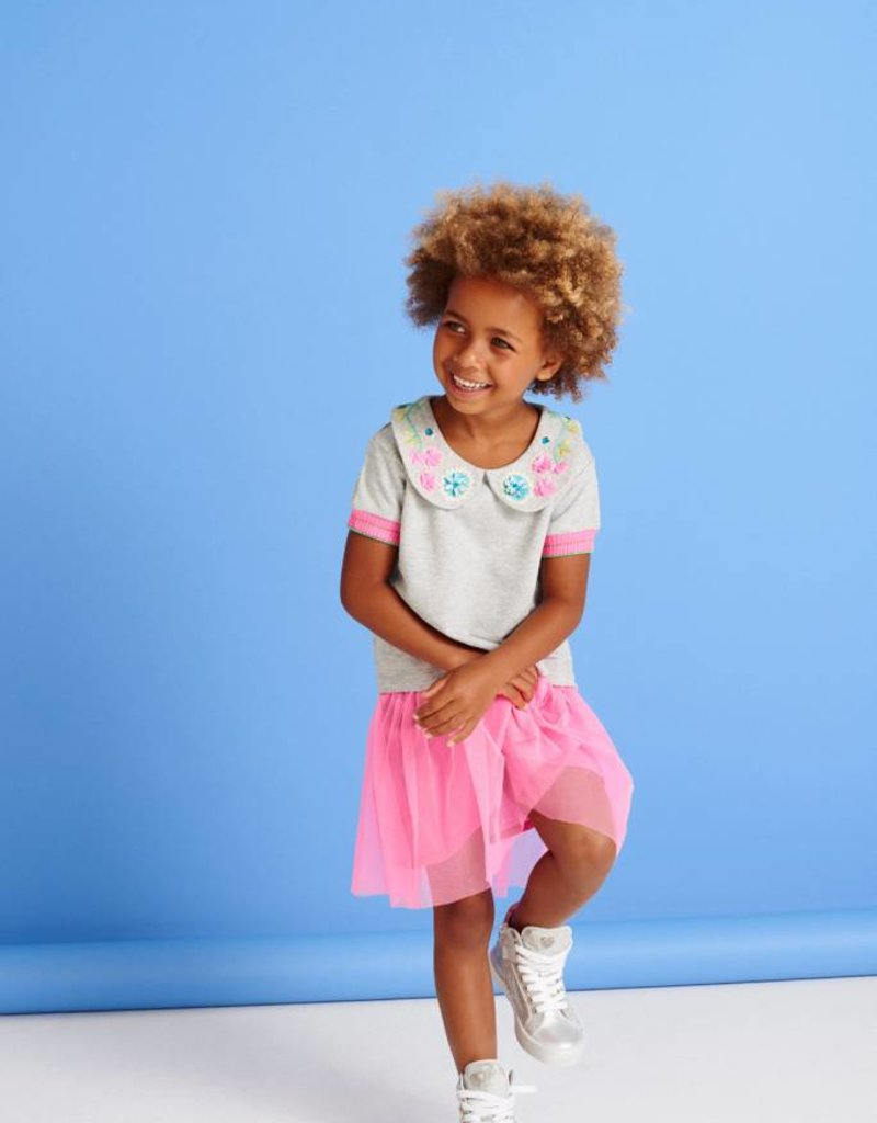 Mim-Pi collar tulle dress- pink & grey